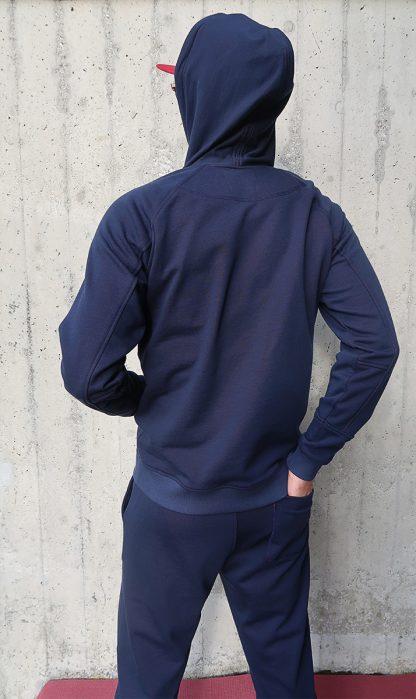 Herren Yoga Hoodie dunkelblau hinten