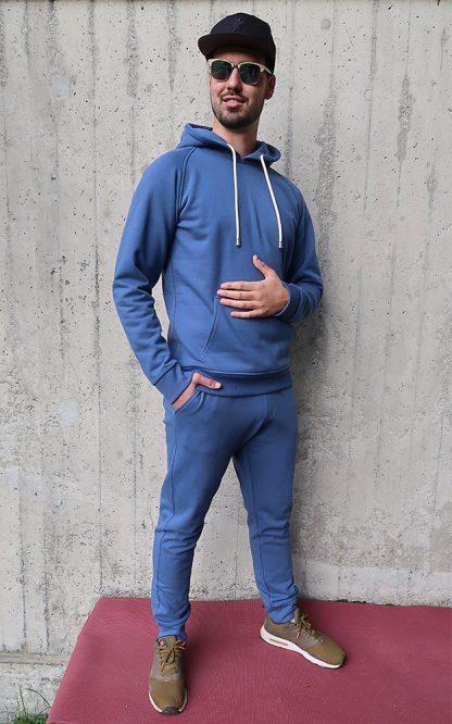 Yoga Hoodie jeansblau BIO Baumwolle