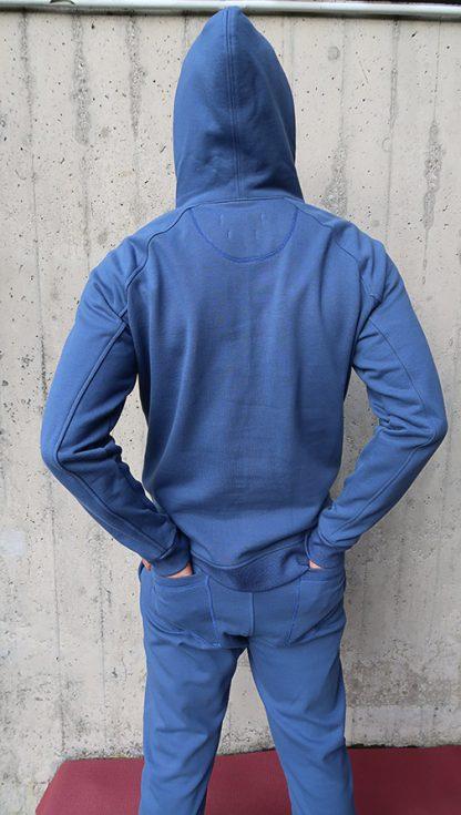 Yoga Hoodie jeansblau BIO Baumwolle hinten