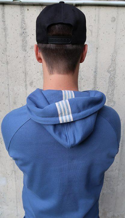 Yoga Hoodie jeansblau BIO Baumwolle Kapuze
