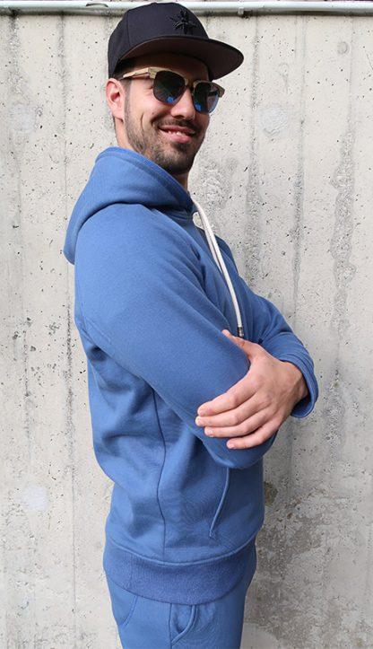 Yoga Hoodie jeansblau BIO Baumwolle seitlich
