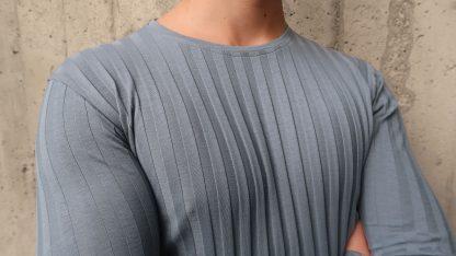 Langarm T-Shirt graublau gerippt