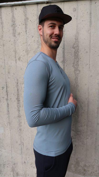 T-Shirt Langarm graublau glatt