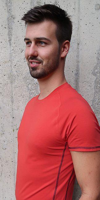 Yoga Herren T-Shirt rot, Kurzarm