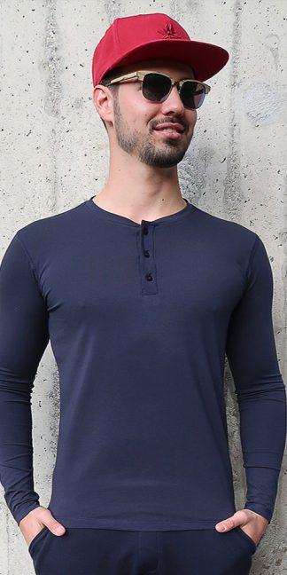 Herren Langarm T-Shirt dunkelblau