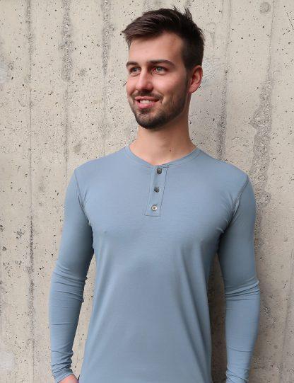 Yoga T-Shirt Herren Langarm, graublau glatt