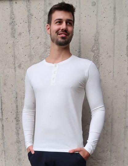 Yoga T-Shirt Herren weiß Langarm