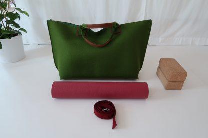 Yoga Tasche aus Wollfilz, grün