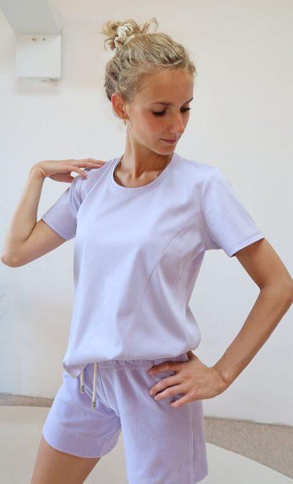 Kurzarm Yoga-T-Shirt lila Bio-Baumwolle