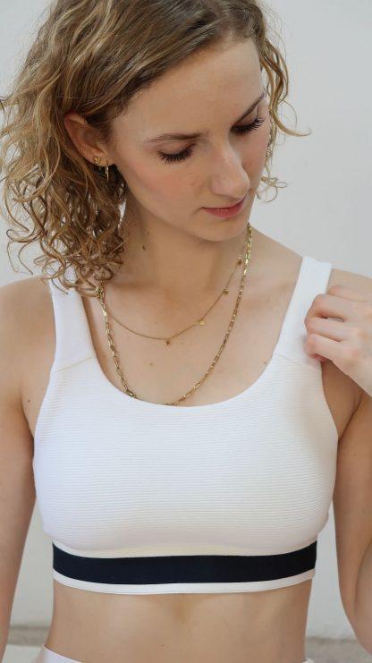 Bustier weiß/marine Bio-Baumwolle