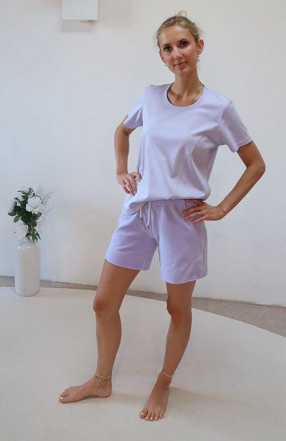 Yoga Short lila Bio-Baumwolle
